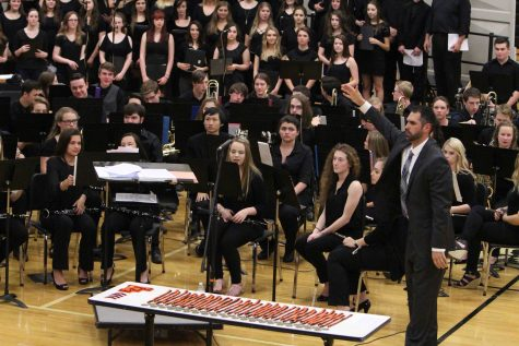 Band and Choir students perform together at Spring Band Concert