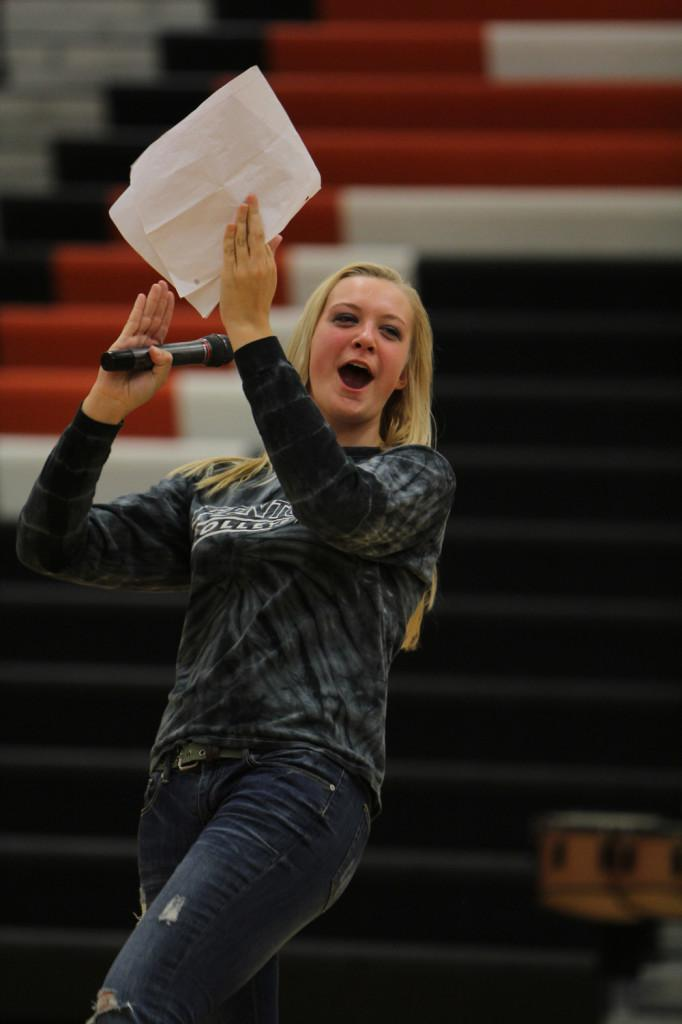 Senior Bobbi Eastman attempts to the pump up the crowd at the pep rally. Eastman and senior Cassidy Rourke led the rally.
