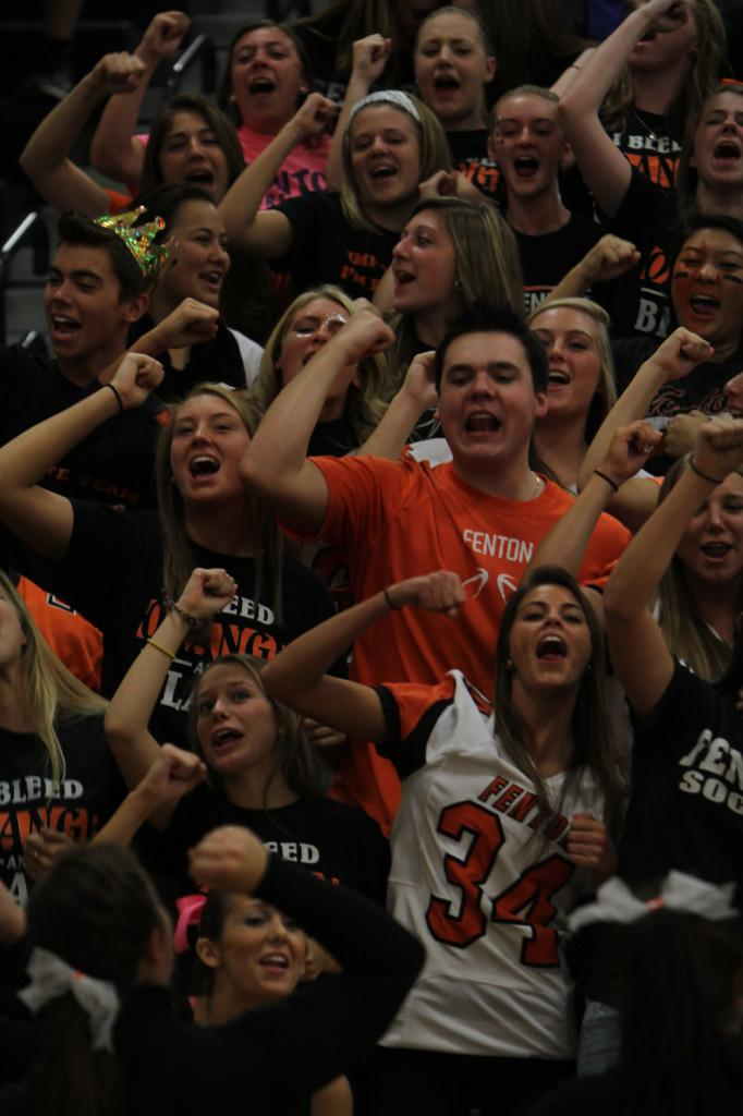 Seniors chant their battle during the Homecoming pep rally.
