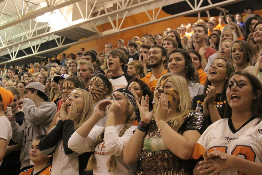 School Spirit. Members of the Class of 2013 chant the Battle Cry at last year's homecoming pep assembly.