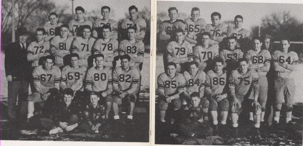 The varsity football team in 1950.  The team's record was 6-2-1.When the team played Holly they won 20-0. Coach Ivan Williams came up with a winning season.