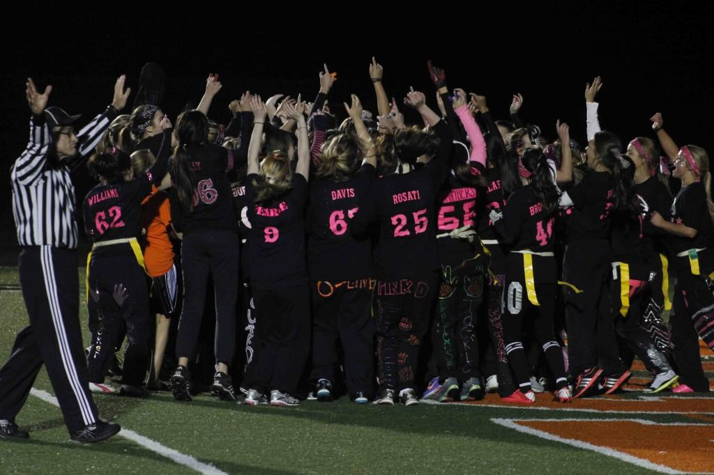 The FHS senior girls celebrate their win over the juniors after the  Powder Puff Football game