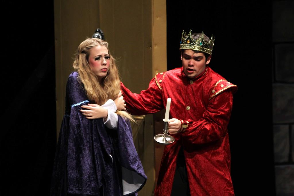 The princess (junior Amanda Blumenschein) getting welcomed in by the king (senior Patrick Vickers)