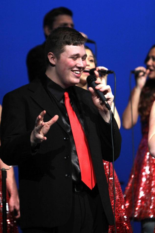 Senior Jacob Lang sings a solo in the final number of the night, 'Boondocks' by Little Big Town.