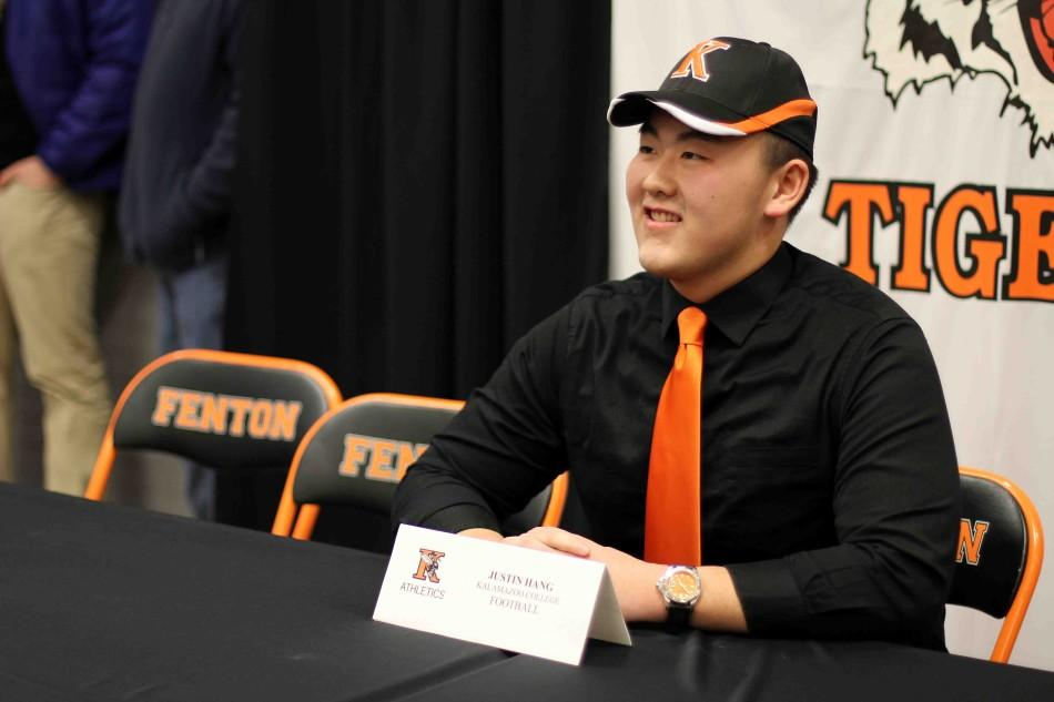 Football player Justin Hang Plans on continuing his athletic career on the field at Kalamazoo College next Fall.