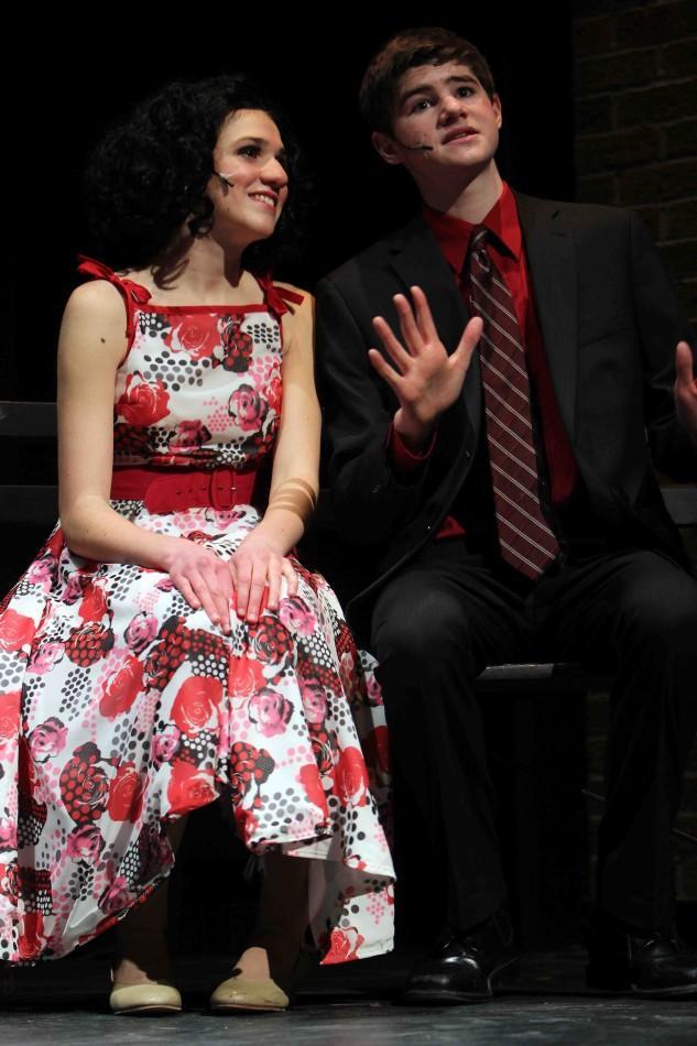 Sophomore Emily Battaglia as Rosie Alverez with junior Jack Kennings as Albert Peterson.