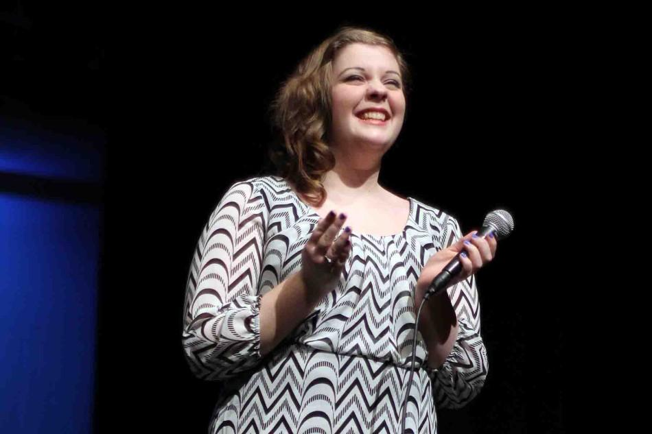 """Sophomore Kelsie Lane sings 'Sampson,' by Regina Spektor at the fifth annual Ruby Zima Student Film and Arts Festival.  """"I chose the song because I love the singer and it is my favorite song of hers,"""" Lane said. """"I was surprised and excited to win because the singing competition is tough."""""""