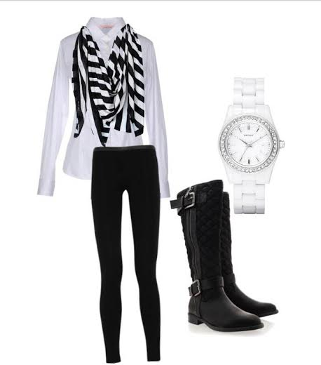 Scarf: PacSun  Watch: Target  Polo: Land's End  Leggings: Victoria's Secret PINK  Boots: Target