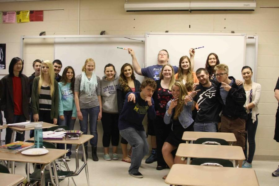 Math teacher Sara Gadwa's SRT celebrates the Class of 2014's last SRT of the year. Many other SRTs did the same thing for their seniors with food, movies, and games the whole hour.