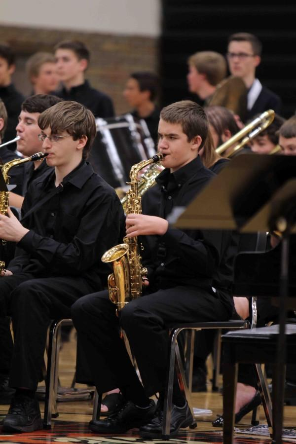 Freshman Robert Haynes plays his saxophone for Symphonic Band and Marching Band in the fall.