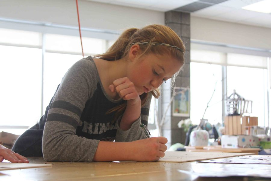 Sophomore Jennifer Eisenbeis works on her project in art class.