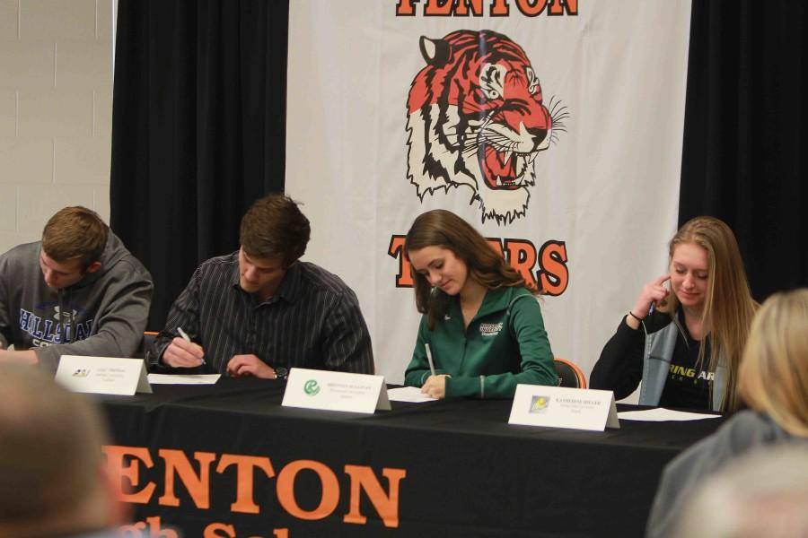 Signing their letters of intent, seniors Evan Welch, Alec Thomas, Brennan Sullivan, and Kat Hiller officially devote part of their college experience to playing their specialized sports. There were a total of nine seniors who were recruited.
