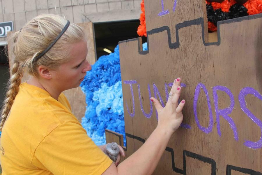 The Homecoming parade features floats from each class. Class of 2017 met this past weekend to construct their float.
