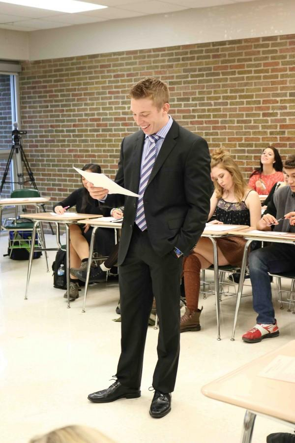 Students in Nicholas Gregory's American Legal Systems class perform a mock trial to better understand how the court system works. Each participant takes on different roles during the trial; senior Justin Murphy serves as a lawyer representing the plaintiff in the trial.
