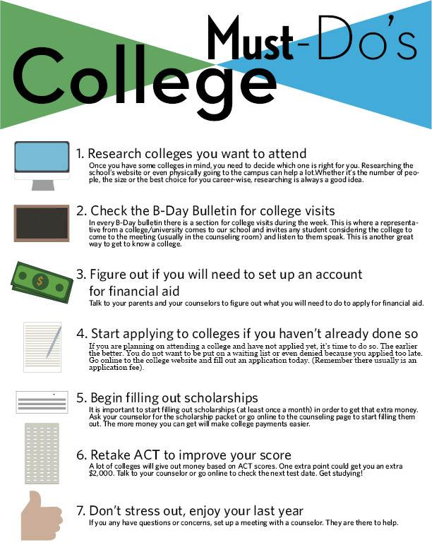 Seven things college bound seniors must do this month
