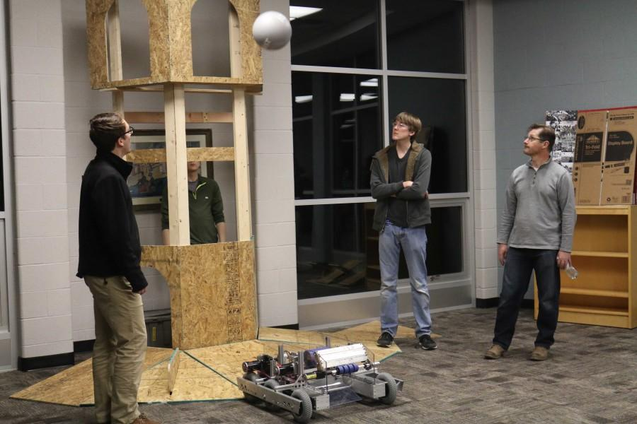 Pictured is the Robotics team's new robot. The students are using the robot to score points at an upcoming competition.