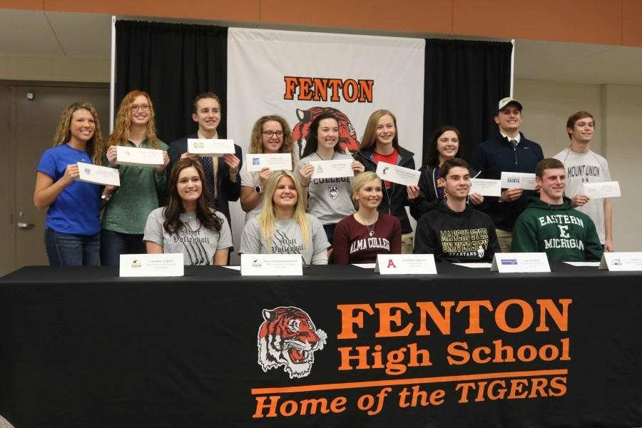 Seniors, like Emily Kinser, who are playing a sport, or sports in colleges signed to the college they are planning to go to today. Many have been playing their sport over ten years and will now be continuing it at schools across the country.