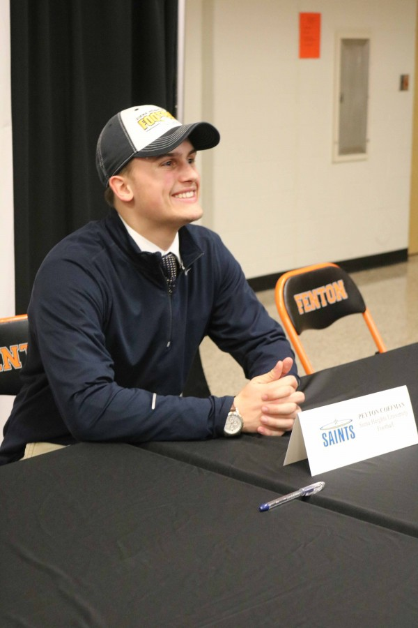 """Senior Peyton Coffman will also attend the University of Siena Heights in the fall. With all the accomplishments from the past four years, Coffman will be playing football at Siena.  """"I started playing football when I was 7 years old,"""" Coffman said. """"I'm excited to carry on playing football because, I have an opportunity to continue my athletic career as well as my education. The signing went good to me because I'm one of a few Linebackers that signed with Siena Heights. I always had a dream to play college football and during my senior year I had coaches contact me from three other schools offer me but I decided Siena Heights was the best fit."""""""