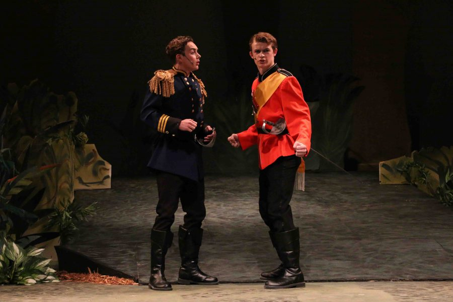 Staring out towards the crowd, senior John Galvin plays his role as _ in the school musical, Into the Woods.
