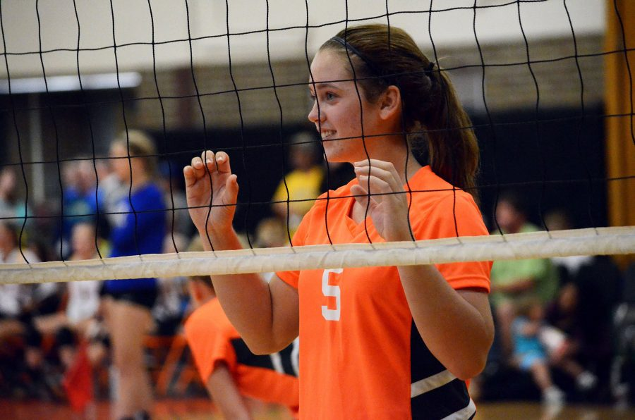 Freshman Hailee Prater, after hitting a spike for the Freshman Girls Volleyball team. The girls played against Mount Morris, winning 25- 17 on Saturday, September 18th.