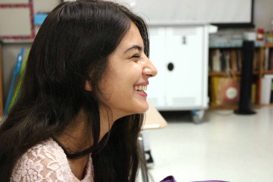 Prochista Sarshar, a foreign exchange student from Germany, works on an assignment during SRT. Sarshar will be staying with sophomore Maci Best and attending Fenton High School for the entire school year.