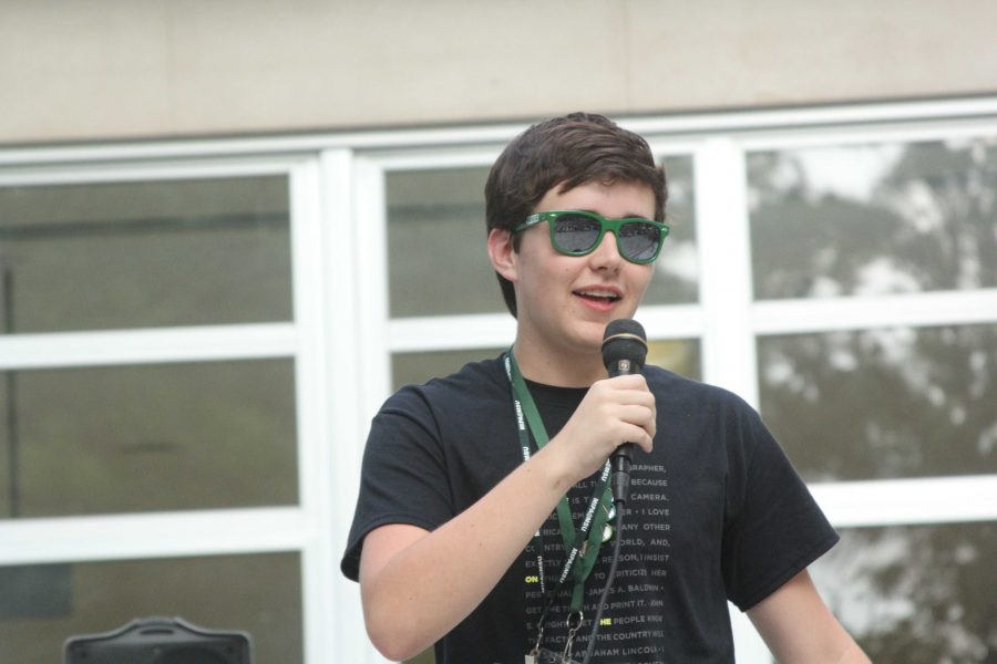 Singing his rap at the MIPA summer talent show, Senior Michael Pierce enjoys the experience he has gotten with his friends at the workshop. This is his last time at the MIPA workshop so he takes in every opportunity he has to make memories.