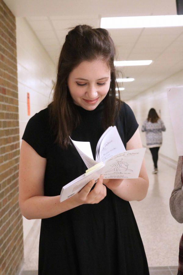 Reading through the script for the first time, senior Makayla Bachman prepares to audition for the Little Prince. She planned to audition for a role as the rose.