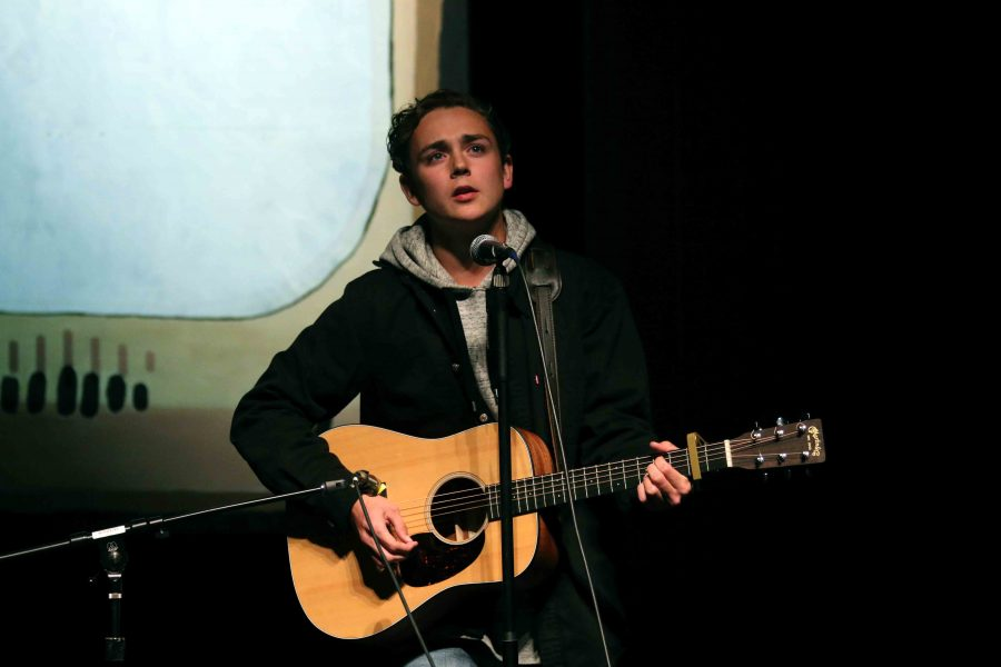"Performing at his last talent show, senior Brennen Henson sings and plays his guitar to Adele's ""When we were young"". The night consisted of many talented students singing, dancing, and playing instruments competing for 1st place."