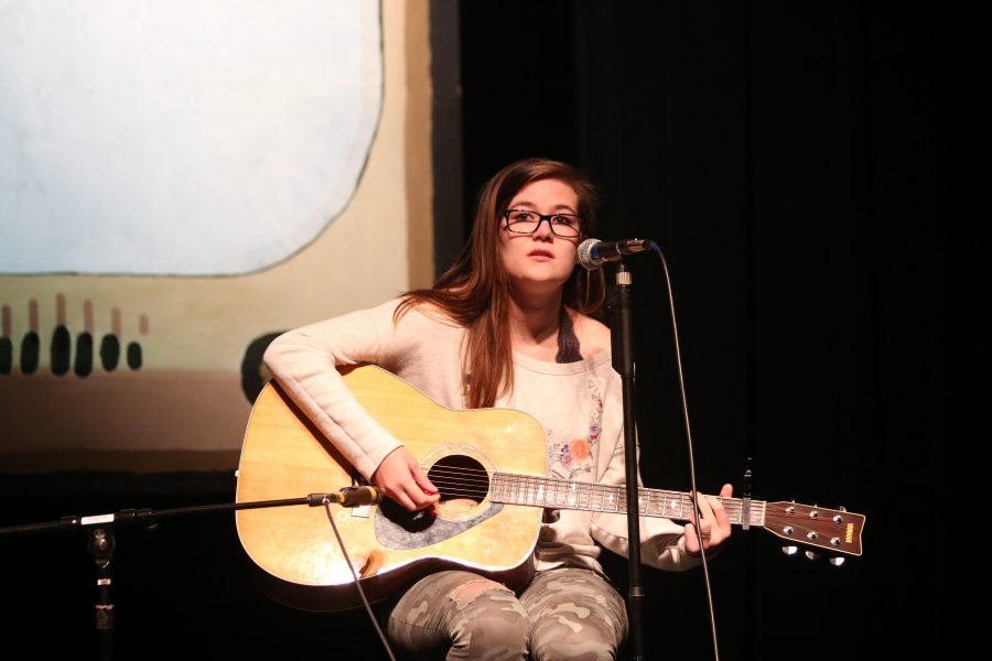 Sophomore Sarah Wenz places first in the Talent Show.