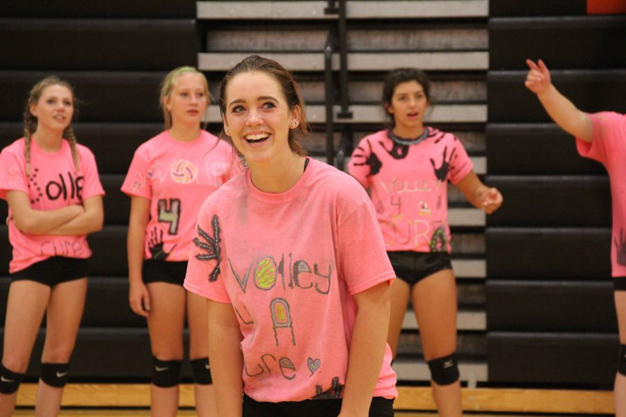 Freshman Hailee Prater, playing at the volley for a cure event against the Fenton boy's soccer team. The girls tried their best but the boy's stole the win.
