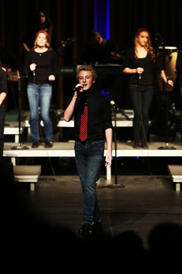 Sophomore Jake Humpert performs in the Ambassador sneak preview.