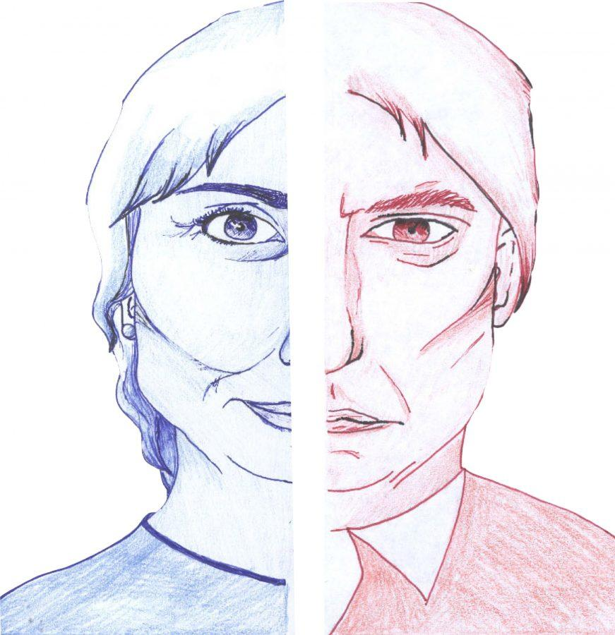 Staff artist Ellie Vasbinder illustrated Democratic candidate Hillary Clinton and Republican candidate Donald Trump side by side for the Election feature of the October issue.