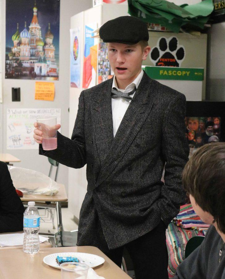 Sophomore Nolan Day dresses up as historical figure Henry Cabot Lodge  to give a speech for his American Studies class in their mock presidential tea party.