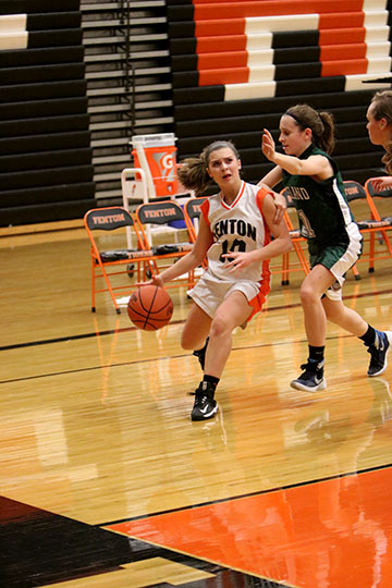 Maria Ebert at her Freshman Basketball game on January 19th, against Freeland. The Fenton tigers ended up losing with a score of 62 to 29.
