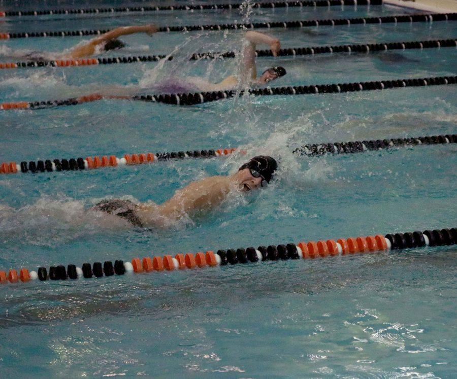 Sophomore Zac Jump swims against eight other schools January 20. Fenton High came in third overall in the meet.