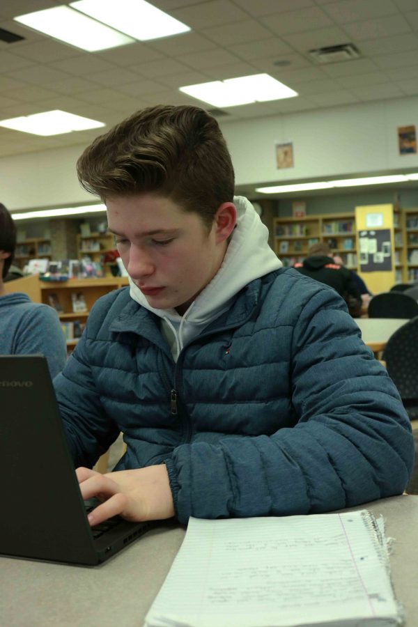 Freshman Morgan Murphy works on his