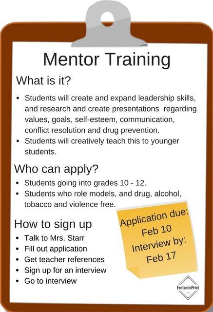 Mentor training clipboard