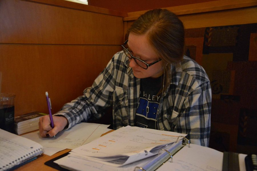 Junior Macyn Stevens prepares for her exams by going to the Panera Bread fundraiser that supports the Fenton publications.