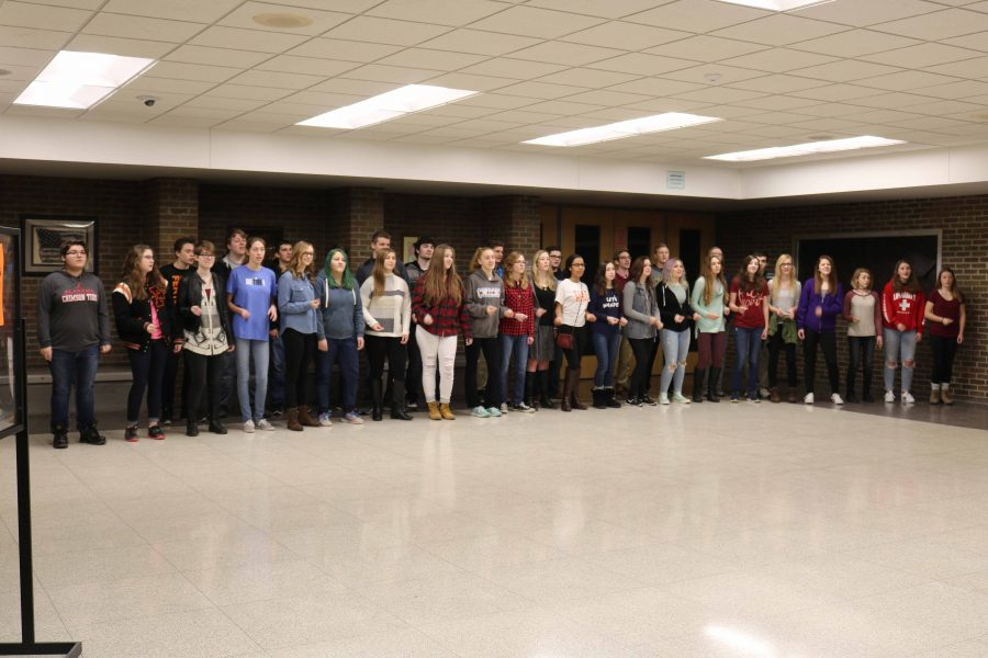 Varsity Vocals welcomed the new Fenton School Board members as they came in to visit student and teacher representatives.