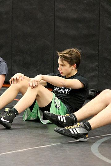 Freshman Jayden Rittenbury at varsity wrestling practice. The boys were preparing for a meet against Linden.