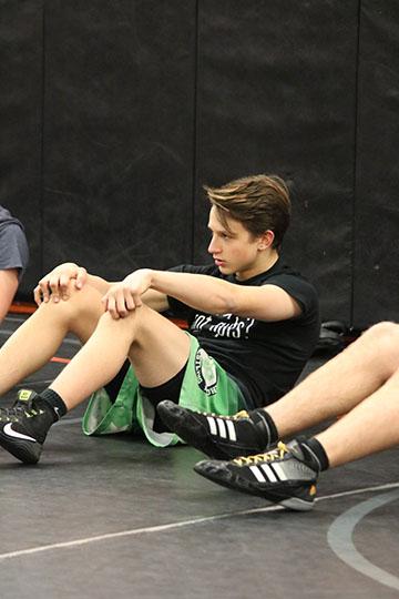 Freshman Jayden Rittenbury at varsity wrestling practice. Th boys were preparing for their meet against Linden.