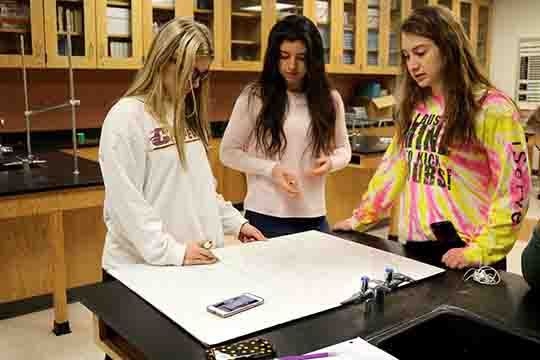 Freshman Jessie Bright, Lilly McKee, and Jaden Williams working on a science Gravity lab. The girls dropped a bounce ball from off a desk and recorded the amount of time.