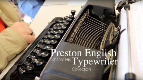 Senior Preston English displays his typewriter collection