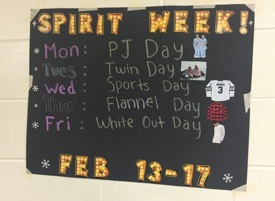 The school week leads uo to the Snowcoming Dance is Saturday, Feb. 18 and the school is celebrating by having a spirit week.