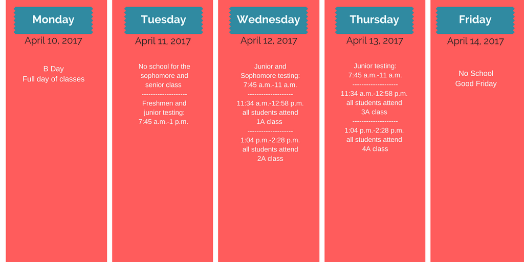 Spring Break dates change starting in 2018 due to April testing