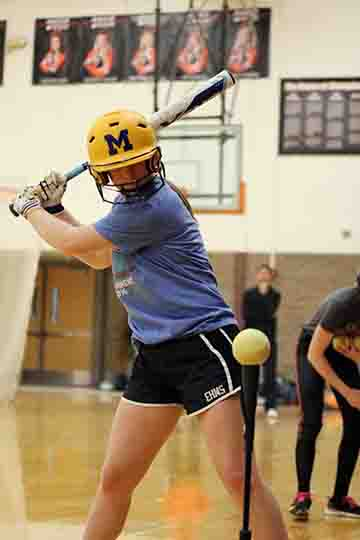 Freshman Hailee Prater at softball try-outs this passed week. Hailee was one of two freshman that made the 2017 Varsity Softball team.