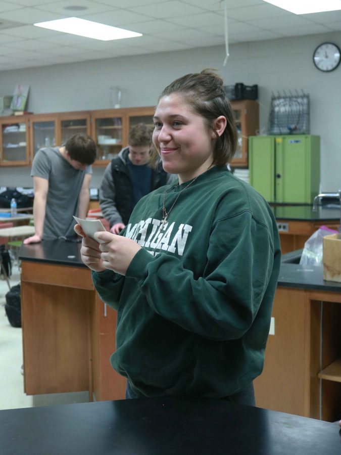 Senior Michaela Willett, plays a review game in 3B anatomy. She was preparing for their big test that is coming up.