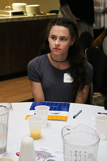 Listening carefully to all of the information that the speakers has to offer, junior Jessica Lynch learns as much as she can when she attended Girls in Business.