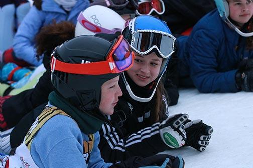 All of Fenton Linden ski team join together to support their seniors on senior night.  Fenton Linden ski team goes undefeated this 2017 ski season.