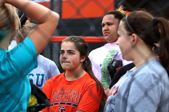 Sophomore Lydia Slosar at JV softball practice preparing for their game on Wednesday against Davison.